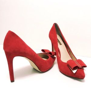Louise et Cie Red Suede Bow Heels Pumps Shoes